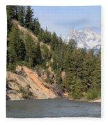 Grand Tetons From Snake River Fleece Blanket
