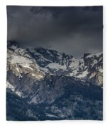 Grand Tetons Immersed In Clouds Fleece Blanket