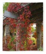 Grape Leaves On Columns Fleece Blanket
