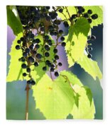 Grapes And Leaves Fleece Blanket