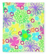 Graphic Flowers Fleece Blanket