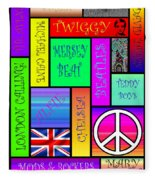 Graphic Sixties London Fleece Blanket