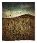 Grassy Hill Birds In Flight Fleece Blanket
