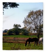 Grazing Horses Fleece Blanket