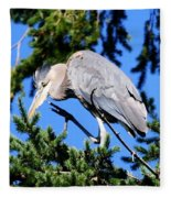 Great Blue Heron Concentration Fleece Blanket