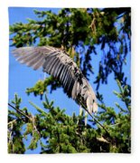 Great Blue Heron Cover Up Fleece Blanket