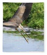 Great Blue Heron Escape Fleece Blanket