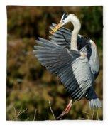 Great Blue Heron Landing Fleece Blanket