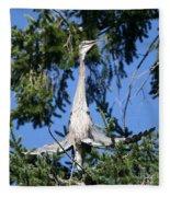Great Blue Heron Meditation Pacific Northwest Fleece Blanket
