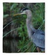 Great Blue Heron Painterly Fleece Blanket