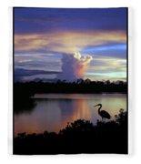 Great Blue Heron Sunset Fleece Blanket