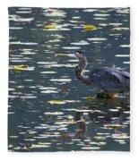 Great Blue Heron With Snack Fleece Blanket