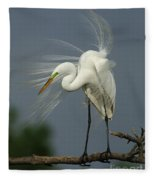 Great Egret Fleece Blanket