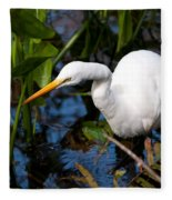 Great Egret Fishing Fleece Blanket