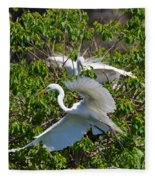 Great Egret In Flight Fleece Blanket