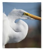 Great Egret Portrait Fleece Blanket