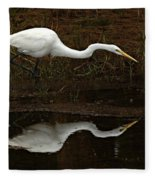 Great Egret Reflection 2 Fleece Blanket