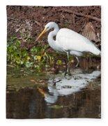 Great Egret Searching For Food In The Marsh Fleece Blanket