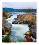 Great Falls On The Potomac River In Virginia Fleece Blanket