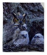 Great Horned Owl Twins Fleece Blanket