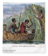 Great Lakes: Canoe, 19th C Fleece Blanket