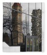 Great Northern Clocktower Reflection - Spokane Washington Fleece Blanket