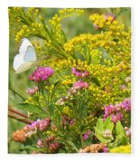 Great Southern White Butterfly Likes The Pink Flowers Fleece Blanket