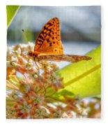 Great Spangled Fritillary Butterfly Fleece Blanket