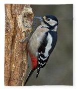 Great Spotted Woodpecker Fleece Blanket