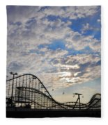 Great White Roller Coaster - Adventure Pier Wildwood Nj At Sunrise Fleece Blanket