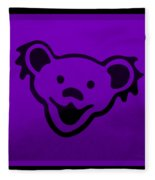 Greatful Dead Dancing Bear In Purple Fleece Blanket