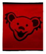 Greatful Dead Dancing Bear In Red Fleece Blanket