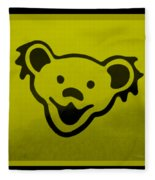 Greatful Dead Dancing Bear In Yellow Fleece Blanket