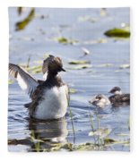 Grebe With Babies Fleece Blanket