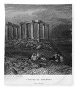 Greece: Cape Sounion, 1832 Fleece Blanket