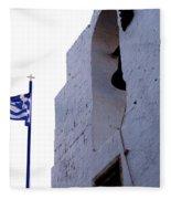 Greek Flag Flying Fleece Blanket