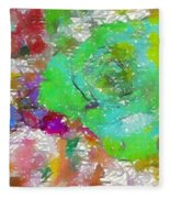 Green Abstract Rose Fleece Blanket