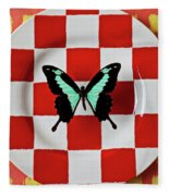 Green And Black Butterfly On Red Checker Plate Fleece Blanket