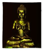 Green And Gold Buddha Fleece Blanket