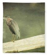 Green Heron On A Log Fleece Blanket