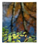 Green Leaves And Autumn Reflection Fleece Blanket