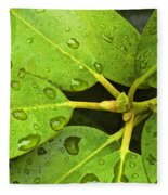 Green Leaves With Water Droplets Fleece Blanket