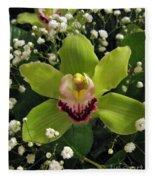 Green Orchid In Baby's Breath Fleece Blanket