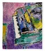 Green Piano Side View Fleece Blanket