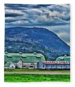 Green Roofed Barn-hdr Fleece Blanket