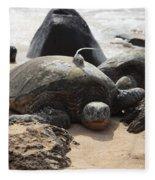 Green Sea Turtle With Gps Fleece Blanket