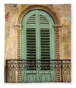 Green Shutters And Balcony In Verona Fleece Blanket