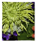 Green Spider Mum Fleece Blanket