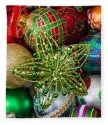 Green Star Christmas Ornament Fleece Blanket