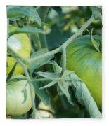 Green Tomato On The Vine Fleece Blanket